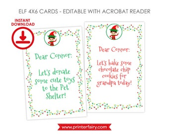 EDITABLE Christmas Elf Cards, 2 designs Included, INSTANT DOWNLOAD