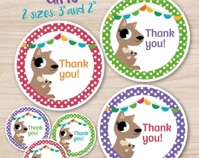 Baby Shower Stickers for baby girls, cute kangaroo Polkadot theme - Green, purple, fuchsia