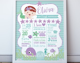 Mermaid 1st birthday poster, Mermaid printable poster, Milestone board, Digital, 2 Options