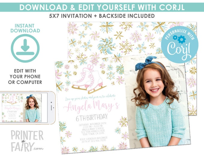 EDITABLE Ice Skating Birthday Invitation with Photo, Winter Birthday Party, Snowflake Invitation, EDIT YOURSELF Digital Invite