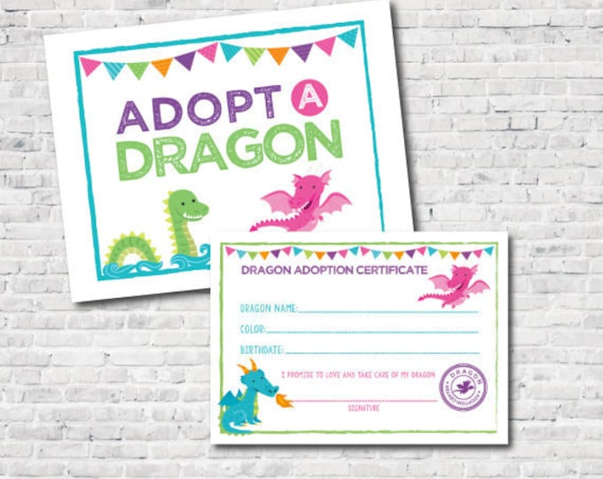 Adopt a Dragon, Dragon Girl Birthday Party, Medieval Party Games, Dragon Adoption Center, Instant Download, DIGITAL