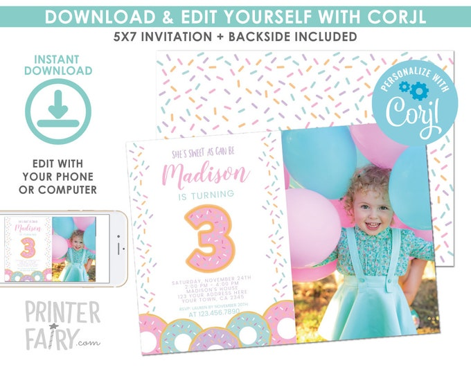 EDITABLE Donut 3rd Birthday Invitation with Photo, Sprinkles Birthday Party, Donut Party, EDIT YOURSELF Digital Invite