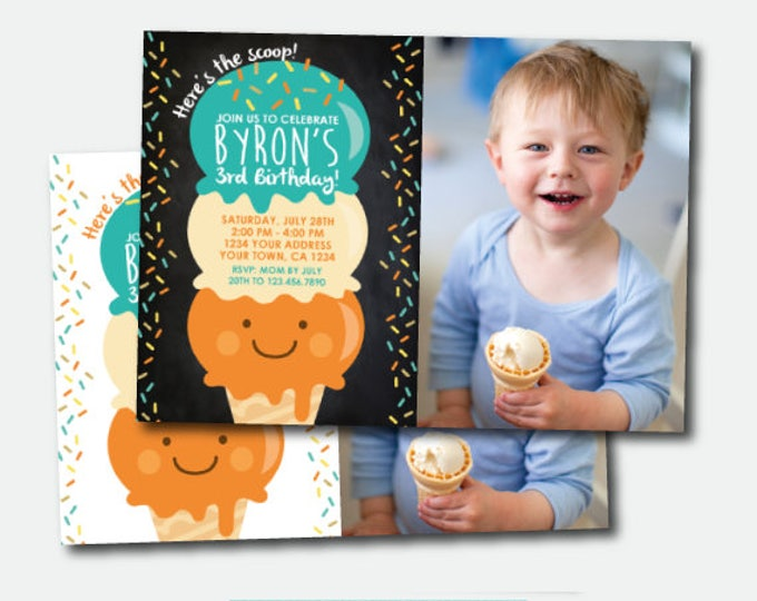 Ice Cream Invitation with photo, Ice Cream Party, Summer Birthday Party, Here's the scoop Invite, Personalized Invitation, 2 options