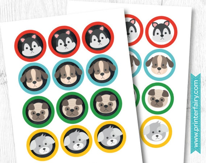 Puppy Birthday Party, Puppy printable toppers, Dog Birthday party, Digital files, Instant download