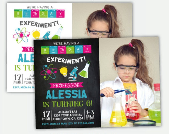 Science Birthday Invitation With Photo, Mad Scientist Party, Science Girls Invitation, Personalized Digital Invitation, 2 options