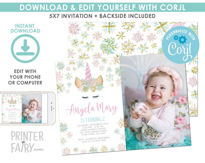EDITABLE Snowflake Unicorn Birthday Invitation with Photo, Winter Unicorn Birthday Party, Magical Party, EDIT YOURSELF Digital Invite