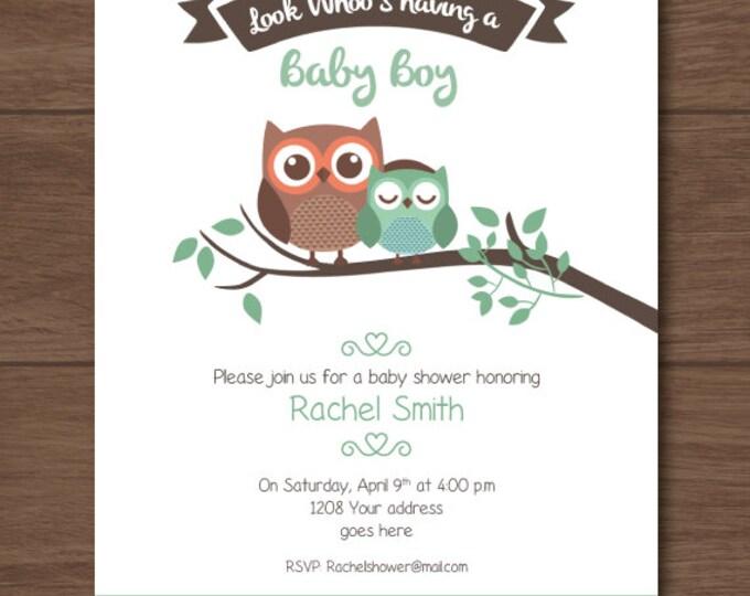 Owl Baby shower invitation, owl invites, for boys