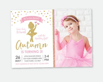 Ballerina Invitation with Photo, Ballet Birthday Party, Pink & Gold, Tutu Invitation, Personalized DIGITAL Invitations