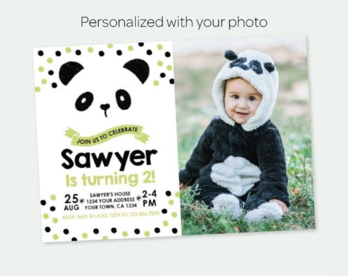 Panda Birthday Invitation with Photo, Bear Birthday party, Black green white birthday Party, Personalized Digital Invitation