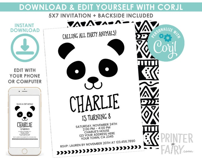 EDITABLE Panda Birthday Invitation, Black and White Birthday Party, Modern Birthday, Panda Invitation, EDIT YOURSELF Digital Invite