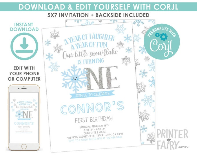 Little Snowflake Boy Birthday Invitation, Winter Onederland Birthday Invitation, Snowflake Birthday Party, EDIT YOURSELF Digital Invite