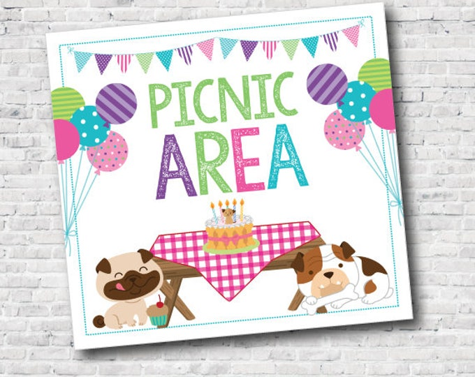 Picnic Area Sign, Puppy Adoption Party, Dogs birthday party, Pet sign, Instant Download