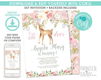 EDITABLE Deer Birthday Invitation, Fawn Invitation, Enchanted Forest Birthday Party, Woodland Invite, EDIT YOURSELF with Corjl