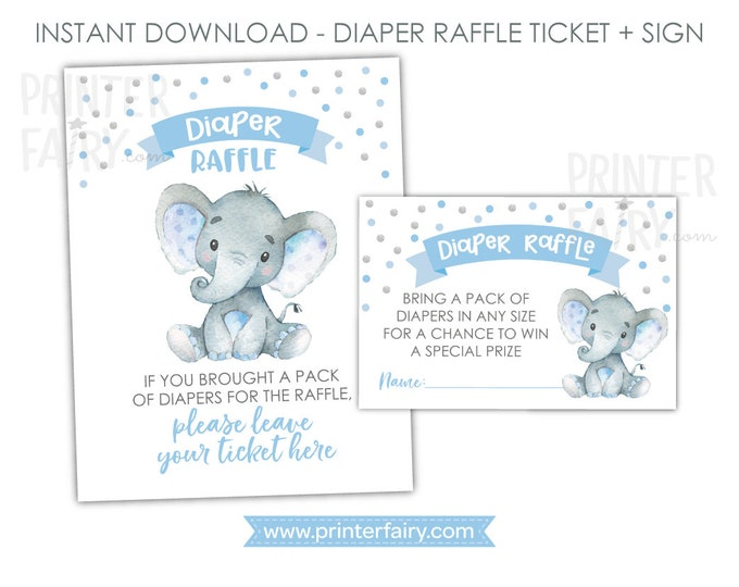 Elephant Diaper Raffle Ticket + Sign, Elephant Baby Shower, Boy Baby Shower Activities, Jungle Baby Shower, Polkadots, Instant Download