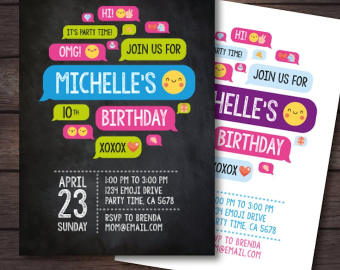 Emoji party, Emoji Invitations, Emoji Birthday, Emoji Invite, Digital Invitations