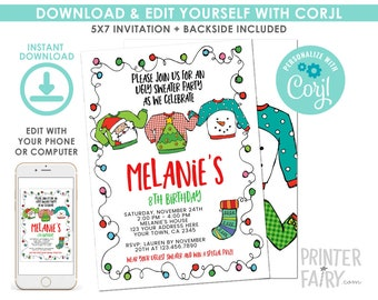 EDITABLE Ugly Sweater Birthday Invitation, Christmas Birthday Party, Holiday, Ugly Sweater Party, EDIT YOURSELF with Corjl