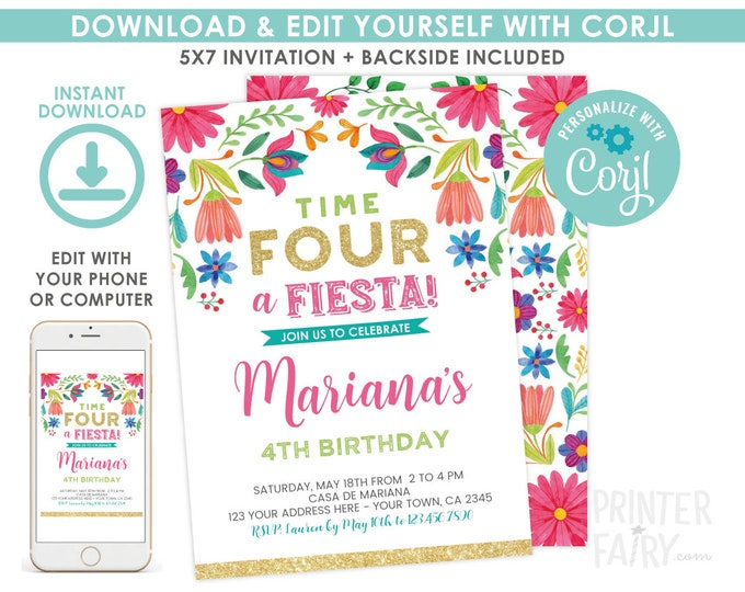 Fiesta Invitation, Fiesta 4th Birthday Invitation, Cinco de Mayo, Time four a fiesta, Floral Fiesta Invite, EDIT YOURSELF Digital Invite