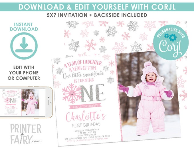 Snowflake Birthday Invitation with Photo, Winter Onederland First Birthday Invitation, Little Snowflake, EDIT YOURSELF Digital Invite