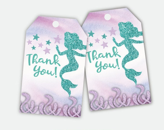 Mermaid Favor Tags, Mermaid Birthday Party, Mermaid Baby Shower, Printable Digital Tags, Instant Download