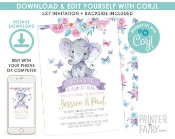 EDITABLE Elephant Baby Shower Invitation, Girl Baby Shower, Jungle Safari Baby Shower Invitation, Floral, EDIT YOURSELF Digital Invite