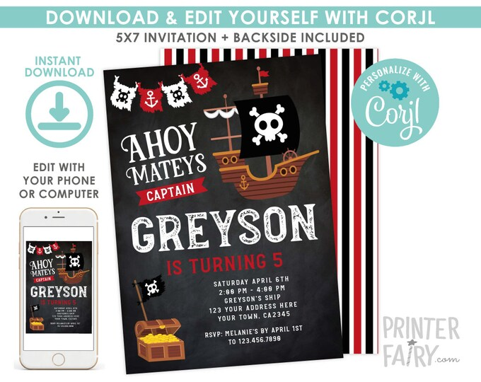 Pirate Invitation, EDITABLE pirate birthday invitation, Pirate Ship Birthday Party, Ahoy Matey, Black, EDIT YOURSELF Digital Invitation