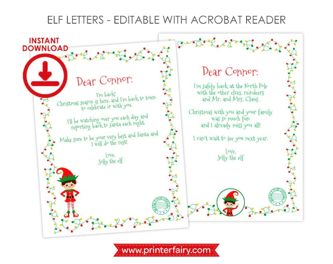 EDITABLE Christmas Elf Letters, 2 designs Included, INSTANT DOWNLOAD