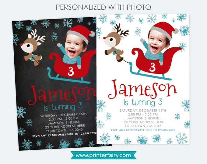 Winter Wonderland Invitation with photo, Snowflake Invitation, Sleigh and Reindeer, Personalized DIGITAL Invitations