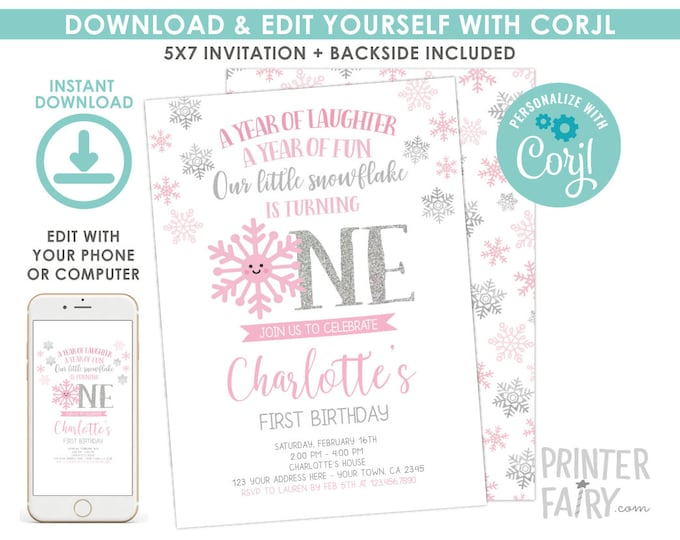 Snowflake Birthday Invitation, Winter Onederland First Birthday Invitation, Little Snowflake Birthday Party, EDIT YOURSELF Digital Invite