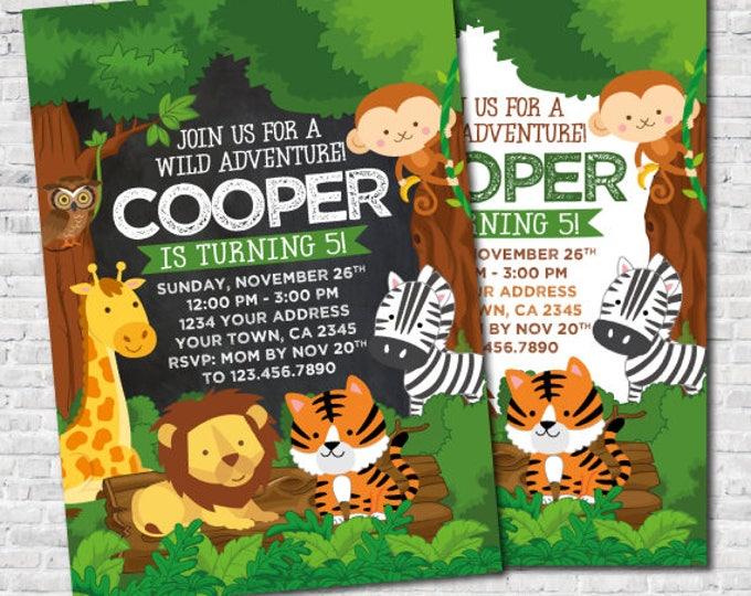 Jungle Invitation, Safari Birthday Invitation, Zoo Birthday Invitation, DIGITAL, 2 Options