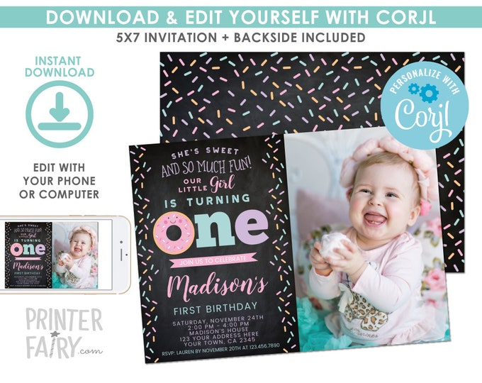 EDITABLE Donut First Birthday Invitation with Photo Chalkboard, Sprinkles 1st Birthday Party, Donut Party, EDIT YOURSELF Digital Invite