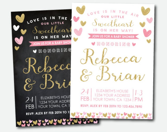 Little Sweetheart Baby Shower Invitation, Girl Baby Shower Invite,  Heart Baby Shower Invitation, Digital Personalized Invitation