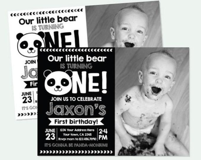 Panda First Birthday Invitation with Photo, Panda Birthday party, Black white birthday Party, Personalized Digital Invitation, 2 Options