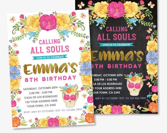 Dia de los Muertos Birthday Invitation, ANY AGE, Day of the Dead Party, Sugar Skull Invite, Personalized Printable DIGITAL Invite, 2 options