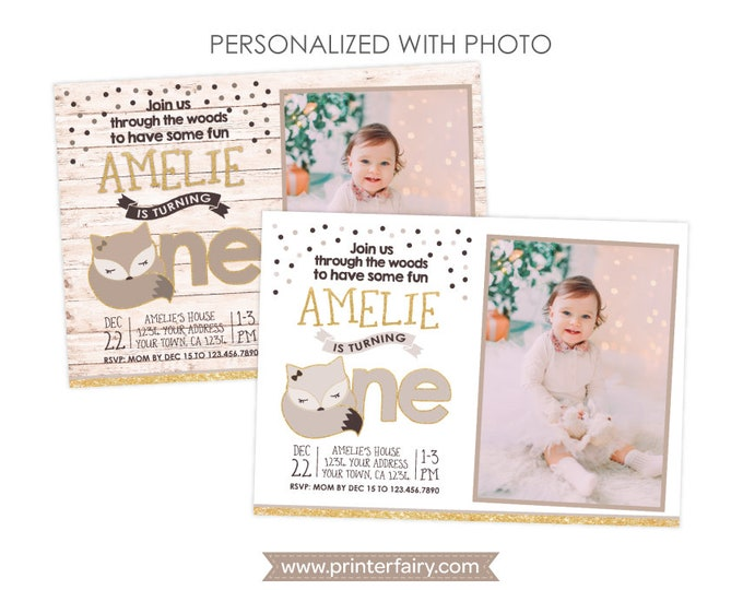 Fox First Birthday Invitation with Photo, Woodland Birthday Party, Winter Wonderland Invitation, Personalized DIGITAL Invitations