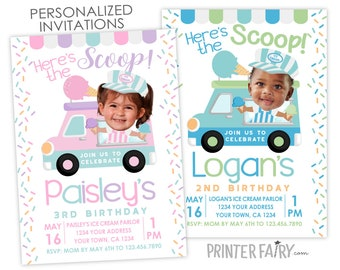 Ice Cream Truck Invitation with Photo, Ice Cream Birthday Invitation, Sprinkles Birthday Party, Ice Cream Shop, Personalized DIGITAL Invite