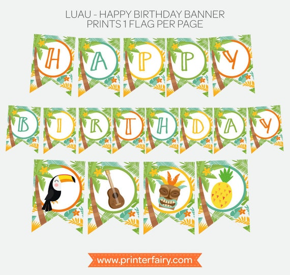 Luau Birthday Banner Hawaiian Party Printable Happy