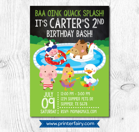 pool birthday invitation pool birthday party invitation summer