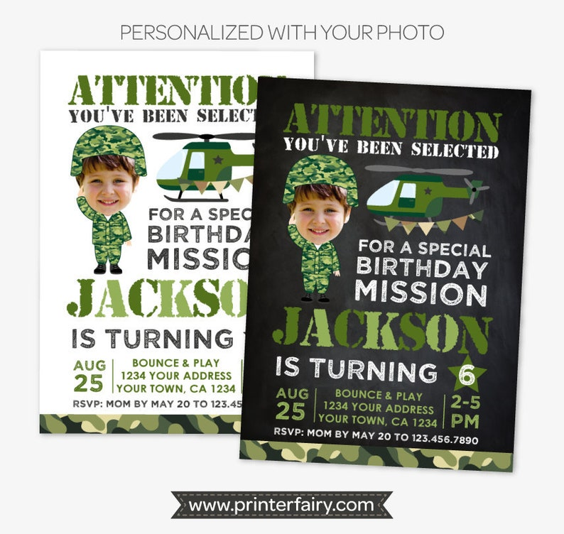 Military Birthday Invitation With Photo Army Party Soldier Personalized Printable DIGITAL Invite 2 Options