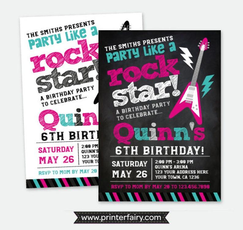 Rock Star Invitation Rock Invitations Rockstar Birthday Etsy