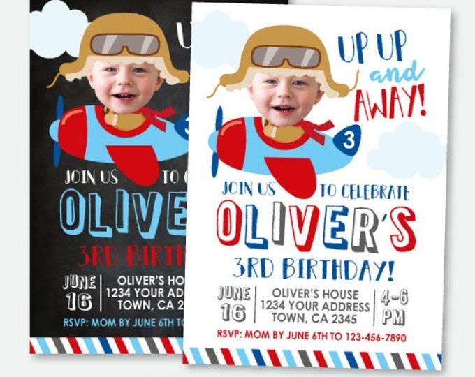 Plane Birthday Invitation with Photo, Airplane Invitation, Up up and away Invitation, Personalized Printable Invitation, 2 Options