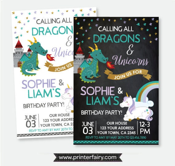 Dragon And Unicorn Birthday Invitation Siblings Magical Party Personalized Printable 2 Options