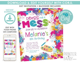 EDITABLE Art Birthday Invitation, Painting Birthday Party, Art Invitation, Colorful, Paint Party, EDIT YOURSELF Digital Invite
