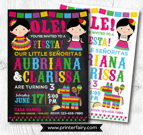 fiesta twin birthday invitations fiesta birthday invitation