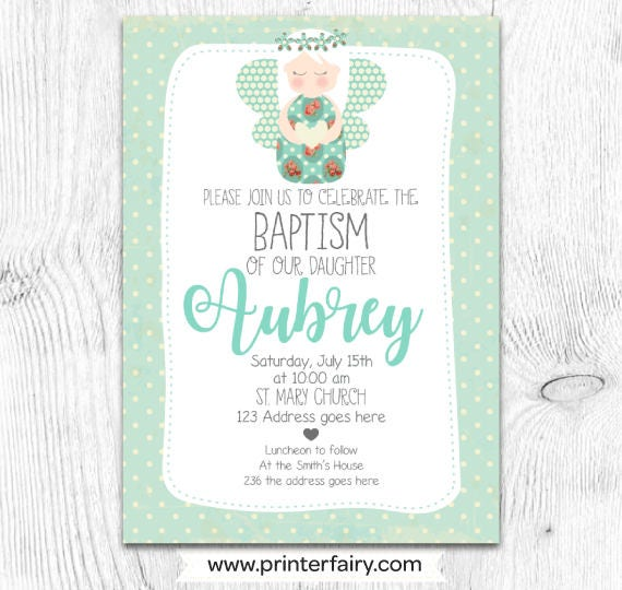 Christening Invitation Girl Baptism Invitation Angel Invitations