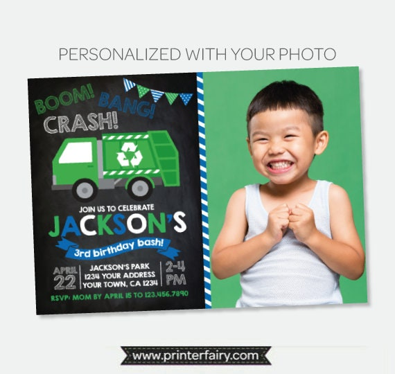 Garbage truck invitation with photo trash truck birthday party gallery photo gallery photo gallery photo gallery photo filmwisefo