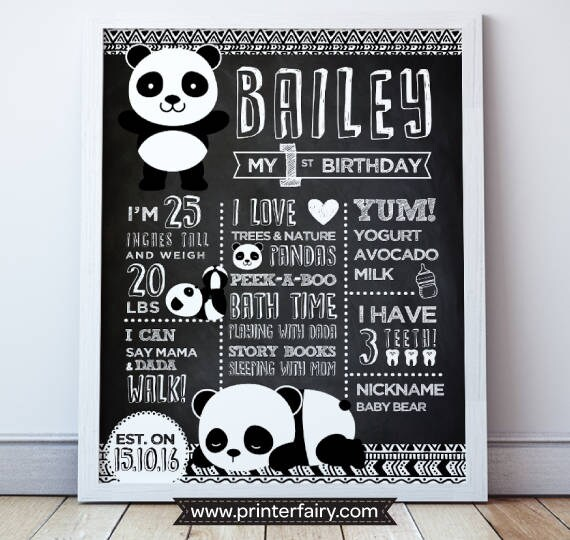 panda birthday poster panda prints panda first birthday etsy