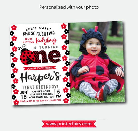 Little Ladybug First Birthday Invitation With Photo 1st Party Personalized Polkadot Girls Invite 2 Options