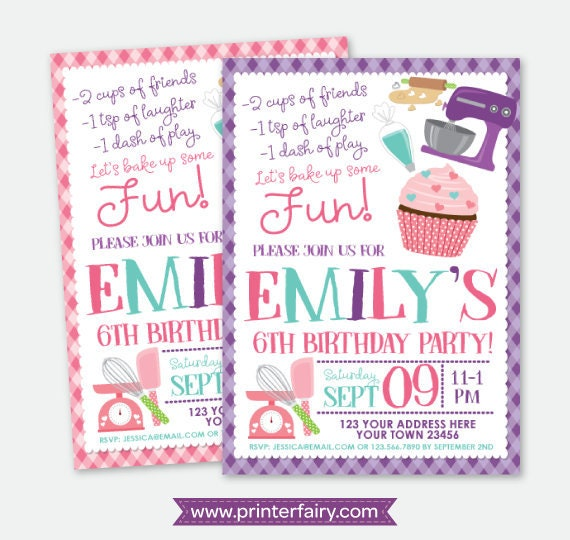 cupcake invitations cooking party invite baking invitation girls