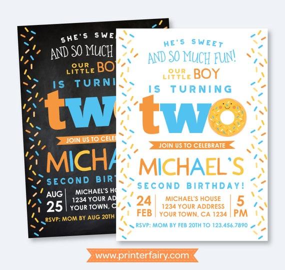 Donut 2nd Birthday Invitation Sprinkles Boy Party Second Invite Personalized 2 Options