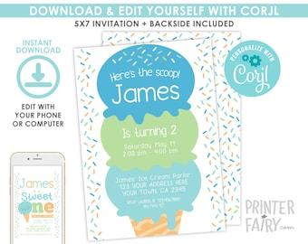 Ice Cream Birthday Invitation, Boy Birthday Invitation, Sprinkles Invitation, Ice Cream Birthday Party, EDITABLE, Instant Download